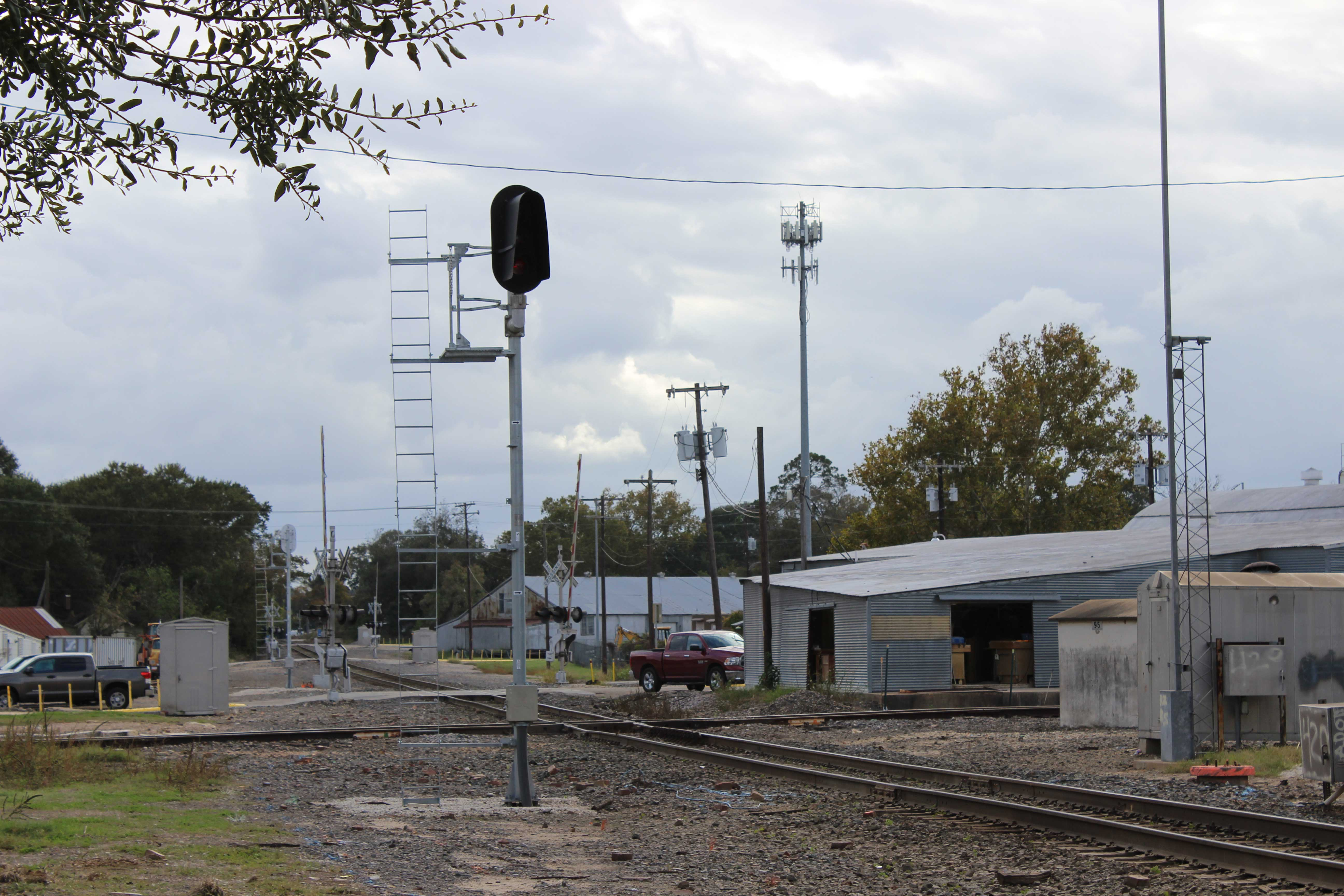 A new Vader signal stands guard over the diamond with a branch line near downtown Brenham.